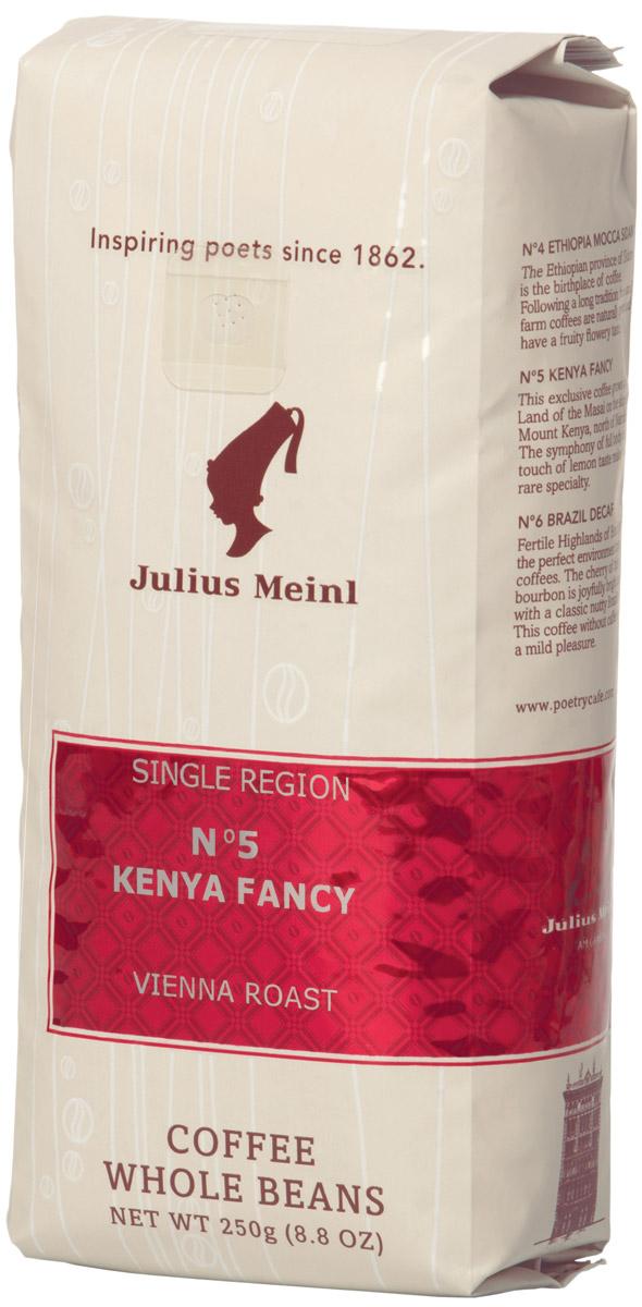 Julius Meinl № 5 Кения Фэнси кофе в зернах, 250 г101246Легкие ноты экзотических фруктов во вкусе, благородная кислинка спелых цитрусов и карамельное послевкусие.