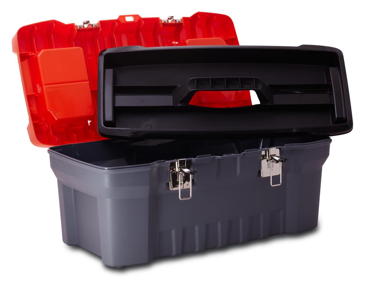 Ящик для инструментов Blocker Expert, цвет: серый, оранжевый, 510 х 260 х 220 мм80625Прочный, удобный ящик Blocker Expert предназначен для хранения и переноски инструментов, домашних мелочей, рыболовных принадлежностей. Надежные металлические замки, современный дизайн, конструкция, предусматривающая повышенные нагрузки, внутренний лоток. Встроенные органайзеры в крышке для размещения мелких деталей.