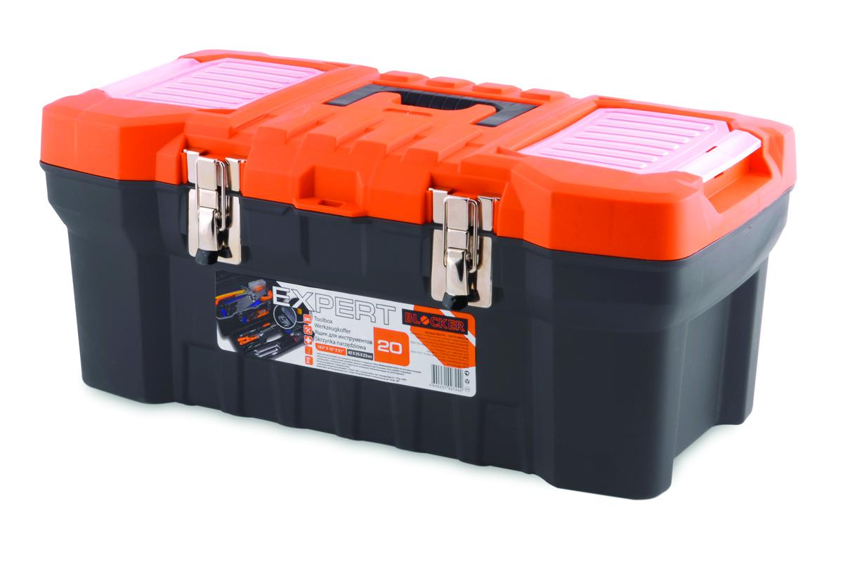Ящик для инструментов Blocker Expert, цвет: черный, оранжевый, 510 х 260 х 220 ммКТ 700504Прочный, удобный ящик Blocker Expert предназначен для хранения и переноски инструментов, домашних мелочей, рыболовных принадлежностей. Надежные металлические замки, современный дизайн, конструкция, предусматривающая повышенные нагрузки, внутренний лоток. Встроенные органайзеры в крышке для размещения мелких деталей.