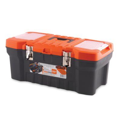 Ящик для инструментов Blocker Expert, цвет: черный, оранжевый, 560 х 280 х 235 мм98293777Прочный, удобный ящик Blocker Expert предназначен для хранения и переноски инструментов, домашних мелочей, рыболовных принадлежностей. Надежные металлические замки, современный дизайн, конструкция, предусматривающая повышенные нагрузки, внутренний лоток. Встроенные органайзеры в крышке для размещения мелких деталей.