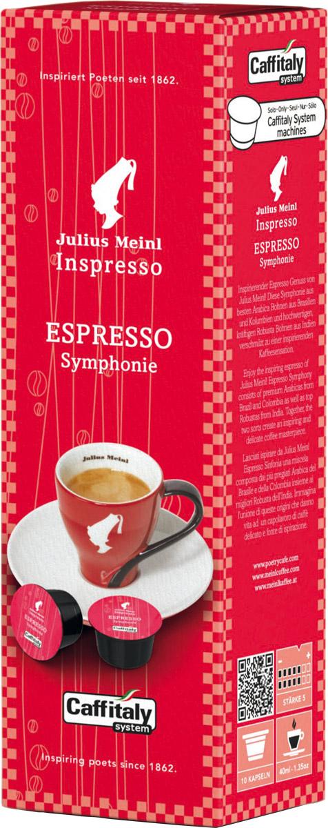 Julius Meinl Эспрессо Симфония капсульный кофе, 10 шт0120710Насыщенный вкус темного шоколада с терпкой кислинкой и бархатистой текстурой.