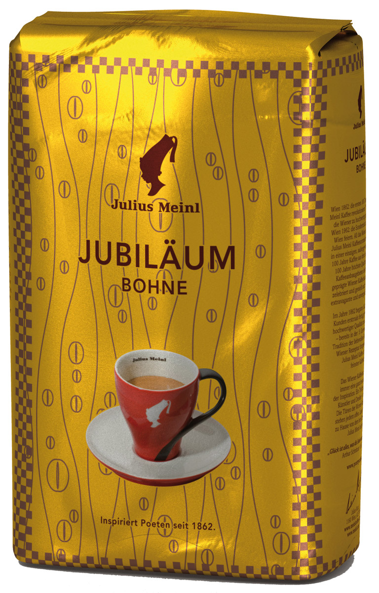 Julius Meinl Юбилейный кофе в зернах, 500 г0120710Премиальный бленд традиционной венской обжарки из лучших зерен, собранных на высокогорных плантациях Центральной Америки и Папуа Новой Гвинеи. Был создан 50 лет назад в честь празднования 100-летнего юбилея компании Julius Meinl.