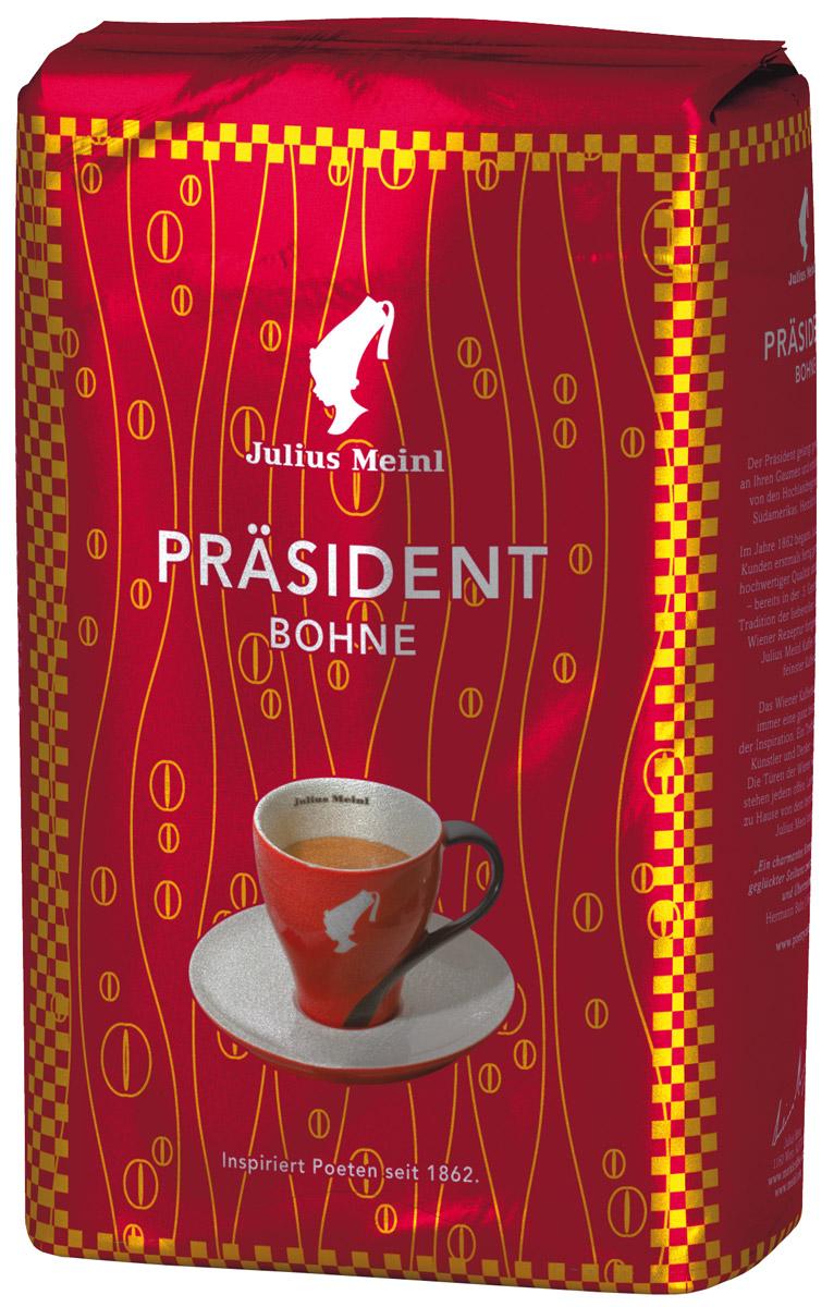 Julius Meinl Президент кофе в зернах, 500 г0120710PRASIDENT – самый популярный премиальный кофе в Австрии. Смесь высокогорной арабики из Центральной и Южной Америки с ярким, запоминающимся вкусом.