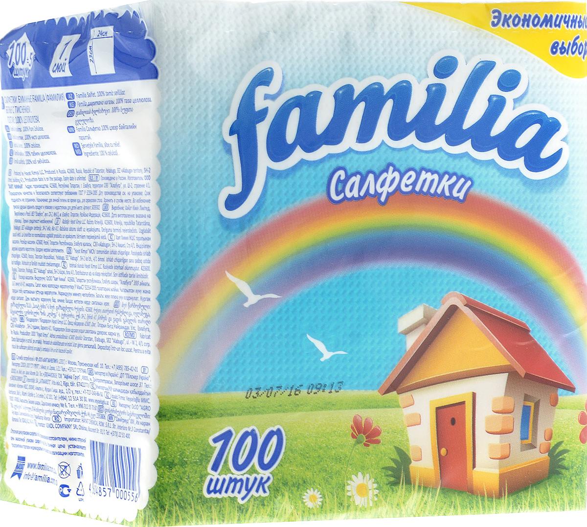 Салфетки бумажные Familia Радуга, однослойные, 23 х 24 см, 100 шт787502Однослойные бумажные салфетки Familia Радуга мягкие, но в то же время прочные. Изделия выполнены из первичного волокна (100% целлюлоза). Они подходят для косметического, санитарно-гигиенического и хозяйственного назначения. Обладают хорошими впитывающими свойствами. Салфетки красиво оформят сервировку стола. Размер салфетки: 23 х 24 см. Количество слоев: 1.