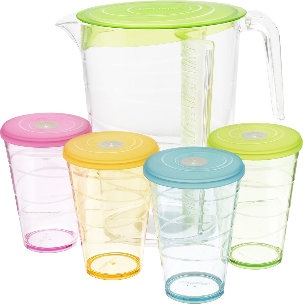 Набор питьевой Tescoma My Drink, цвет: зеленый, 9 предметовVT-1520(SR)Набор питьевой Tescoma My Drink - великолепное решение для летних прохладительных напитков! Набор состоит из кувшина и 4 стаканов. Для изготовления кувшина и стаканов используется первоклассный нетоксичный пластик, пригодный для долгосрочного контакта с пищевыми продуктами и не содержащий химических добавок.Кувшин оснащен специальной перегородкой для фруктов и листьев мяты, которая позволяет не допускать смешивания с основной жидкостью в кувшине. Это избавит вас от дополнительной фильтрации лимонада. Перегородку удобно снимать и чистить.В комплект входят 4 стакана разного цвета, каждый из которых оснащен крышкой с гибким отверстием для соломинки.Можно мыть в посудомоечной машине на щадящих программах, выдерживает температуру до 60°С.Размер кувшина (по верхнему краю): 12 х 18 см.Высота кувшина: 23 см.Объем кувшина: 2,5 л.Диаметр стакана (по верхнему краю): 8,5 см.Высота стакана: 12 см.Объем стакана: 400 мл.