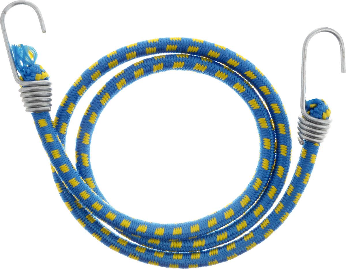 Резинка багажная МастерПроф, с крючками, цвет: синий, желтый, 1 х 110 смAquatak 35-12 PlusБагажная резинка МастерПроф, выполненная из синтетического каучука, оснащена специальными металлическими крючками, которые обеспечивают прочное крепление и не допускают смещения груза во время его перевозки. Изделие применяется для закрепления предметов к багажнику. Такая резинка позволит зафиксировать как небольшой груз, так и довольно габаритный.Температура использования: -15°C до +50°C.Безопасное удлинение: 60%.Диаметр резинки: 1 см.Длина резинки: 110 см.