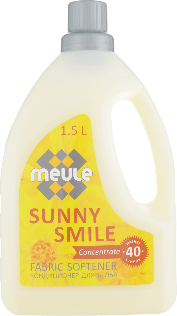 Кондиционер для белья Meule Солнечная улыбка, концентрат, 1,5 л7290104930140Meule Солнечная улыбка - концентрированный кондиционер для белья. Кондиционер сделает ваше белье необыкновенно мягким и придаст ему неповторимый аромат. Облегчит глажку белья, а приятный нежный аромат сохранится до следующей стирки.Товар сертифицирован.