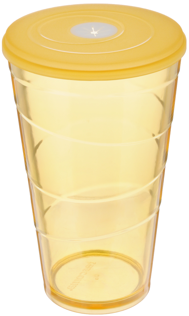 Стакан Tescoma My Drink, с крышкой, цвет: оранжевый, 600 млA11582-634-Y15Стакан Tescoma My Drink выполнен из нетоксичного прочного пластика и абсолютно безопасен в ежедневном использовании. Проверенная технология европейского производства обеспечивает безопасность даже при долгом соприкосновении с пищевыми продуктами или жидкостями. В крышке имеется гибкое отверстие для соломинки. Можно мыть в посудомоечной машине на щадящих программах, выдерживает температуру до 60°С.Диаметр стакана (по верхнему краю): 10 см.Высота стакана: 16 см.Объем стакана: 600 мл.
