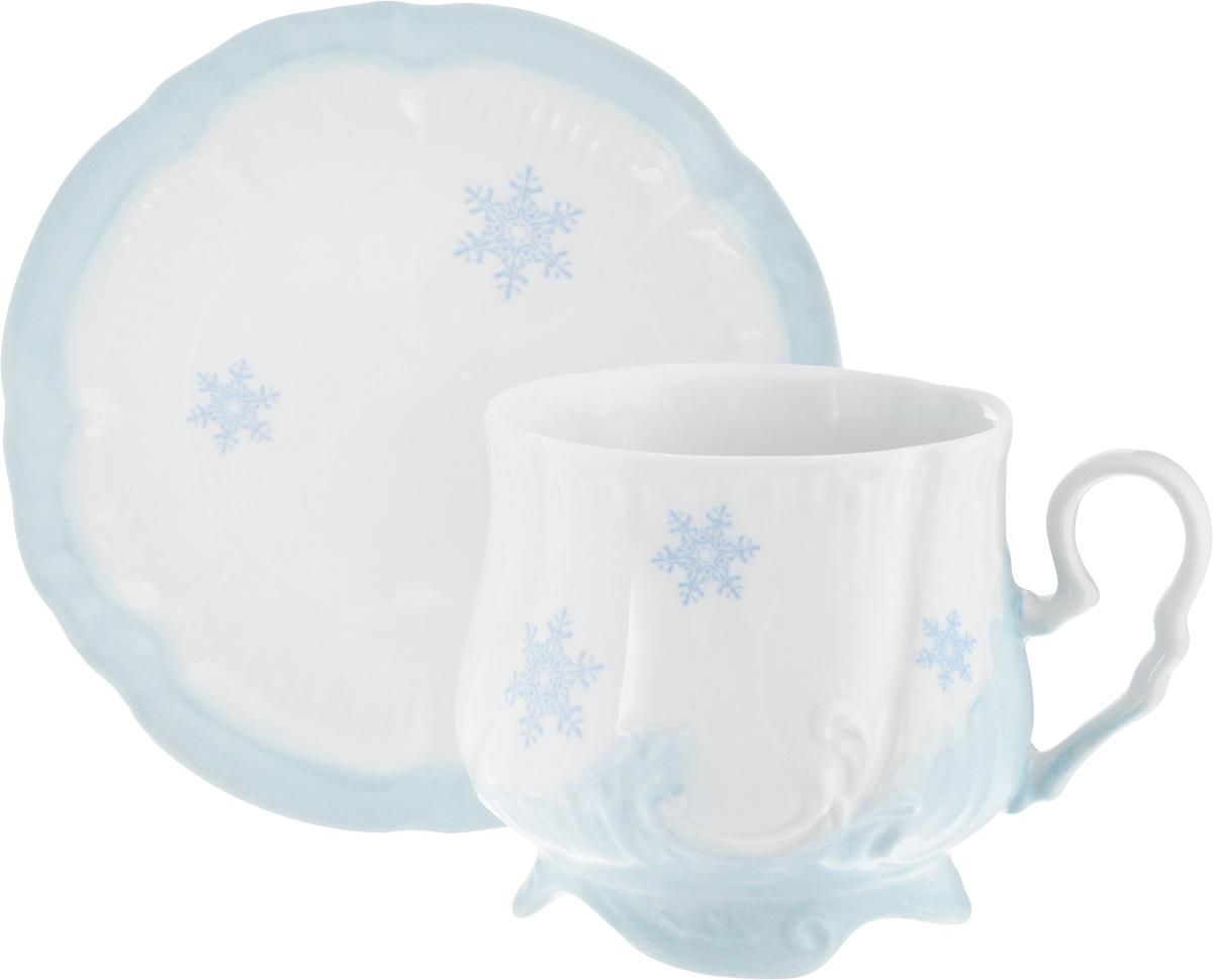 Чайная пара Фарфор Вербилок Кузнецовская. Снежинка, 2 предмета115510Чайная пара Фарфор Вербилок Кузнецовская. Снежинка состоит из чашки и блюдца, изготовленных из высококачественного фарфора. Изделия оформлены в классическом стиле и имеют изысканный внешний вид.Такой набор прекрасно дополнит сервировку стола к чаепитию и подчеркнет ваш безупречный вкус.Чайная пара Фарфор Вербилок Кузнецовская. Снежинка - это прекрасный подарок к любому случаю. Объем чашки: 350 мл.Диаметр чашки (по верхнему краю): 8 см.Высота чашки: 8,5 см.Диаметр блюдца: 14,5 см.Высота блюдца: 2 см.