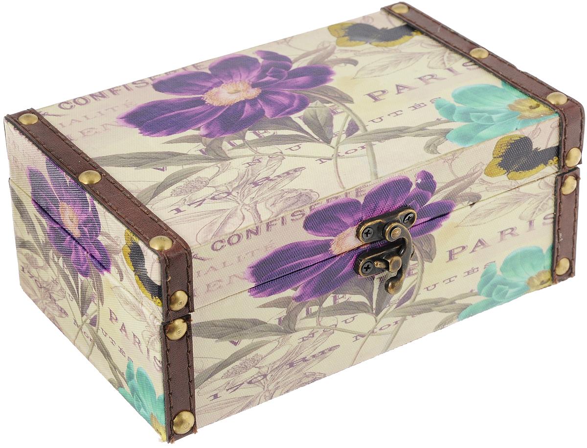 Шкатулка для рукоделия Весна в Париже, 20 х 12 х 8 смFS-80299Шкатулка Весна в Париже изготовлена из МДФ, картона и холщовой ткани и оснащена крышкой. Изделие декорировано изображением цветов. Крышка закрывается на металлический замочек-защелку. Внутри шкатулка обтянута тканью коричневого цвета. Изящная шкатулка с ярким дизайном предназначена для хранения мелочей, принадлежностей для шитья и творчества и других аксессуаров. Она красиво оформит интерьер комнаты и поможет хранить ваши вещи в порядке.