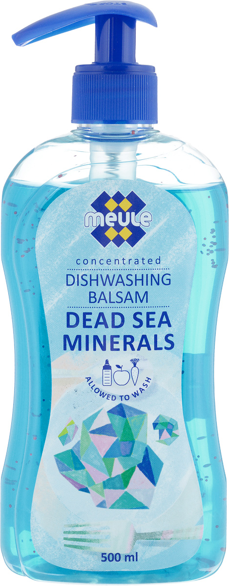 Бальзам для мытья посуды Meule Минералы мертвого моря, 500 мл391602Meule Минералы мертвого моря - концентрированное средство для мытья посуды. Густая жидкость отлично пенится и идеально подходит для мытья вручную посуды, в том числе детской, из фарфора, пластика, стекла, металла, а также овощей и фруктов. Имеет нейтральный рН. Содержит экстракт Алое Вера и минералы Мертвого моря. Содержит компоненты, которые оказывают щадящее воздействие на руки, не сушат кожу, не повреждают ногти, не раздражают дыхательные пути.Товар сертифицирован.