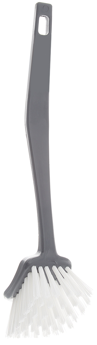 Щетка для посуды Banat Color, квадратная, цвет: серый, длина 26 см68139Щетка для посуды Banat Color с щетиной средней жесткости специально предназначена для удаления остатков пригоревшей пищи и сложных загрязнений. Щетка оснащена удобной нескользящей ручкой. Изгиб ручки позволяет мыть посуду любой формы и размеров. Щетка термостойкая - выдерживает температуру до +120°С. На ручке имеется отверстие для подвеса. Размер рабочей поверхности: 5,5 х 7 см. Длина щетины: 3 см. Длина щетки: 26 см.