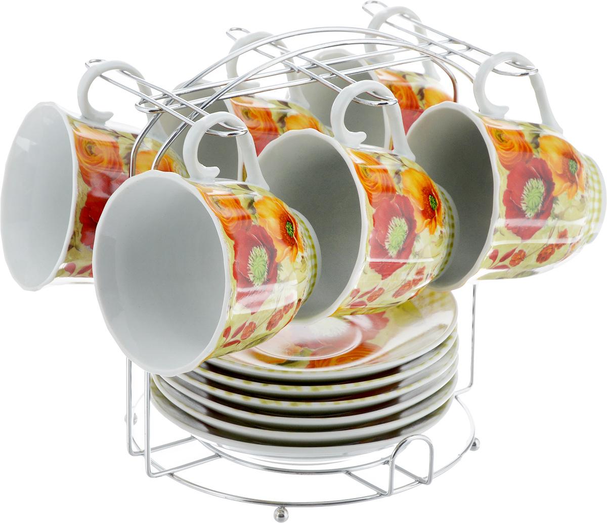 Набор чайный Bella, на подставке, 13 предметов. DL-F6MS-179VT-1520(SR)Набор Bella состоит из шести чашек и шести блюдец, изготовленных из высококачественного фарфора. Чашки оформлены красочным рисунком. Изделия расположены на металлической подставке. Такой набор подходит для подачи чая или кофе.Изящный дизайн придется по вкусу и ценителям классики, и тем, кто предпочитает утонченность и изысканность. Он настроит на позитивный лад и подарит хорошее настроение с самого утра. Чайный набор Bella - идеальный и необходимый подарок для вашего дома и для ваших друзей в праздники.Объем чашки: 220 мл. Диаметр чашки (по верхнему краю): 8 см. Высота чашки: 7 см. Диаметр блюдца: 14 см. Высота блюдца: 2 см.Размер подставки: 17,5 х 17 х 19,3 см.