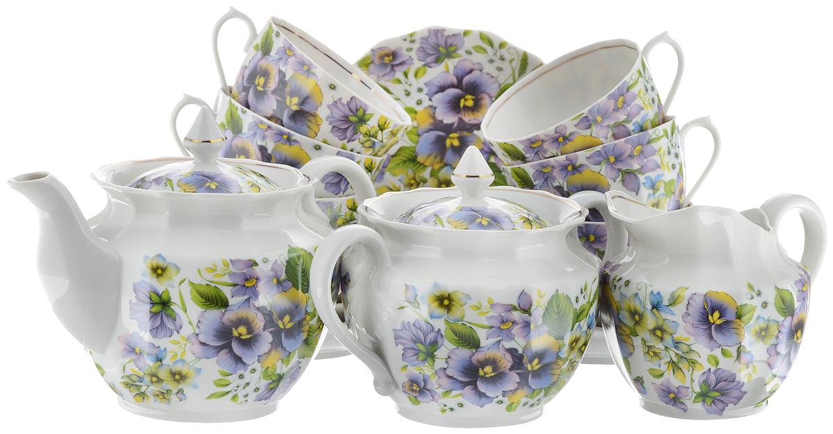 Сервиз чайный Фарфор Вербилок Фиалки, 15 предметовVT-1520(SR)Чайный сервиз Фарфор Вербилок Фиалки состоит из 6 чашек, 6 блюдец, молочника, сахарницы и заварочного чайника. Изделия выполнены из высококачественного тонкостенного фарфора и оформлены цветочным рисунком. Изящный чайный сервиз прекрасно оформит стол к чаепитию и порадует вас элегантным дизайном и качеством исполнения.Объем чайника: 600 мл.Высота чайника (без учета крышки): 10,5 см.Диаметр чайника (по верхнему краю): 6,5 см.Высота сахарницы (без учета крышки): 9,5 см.Диаметр сахарницы (по верхнему краю): 6 см.Объем сахарницы: 600 мл.Объем сливочника: 350 мл.Высота сливочника: 9,5 см.Размер сливочника (по верхнему краю): 8,5 х 6,5 см.Объем чашки: 200 мл.Диаметр чашки (по верхнему краю): 8,5 см.Высота чашки: 5,5 см.Диаметр блюдца: 14 см.Высота блюдца: 2,5 см.