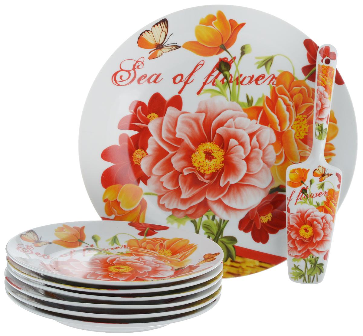 Набор для торта Bella, 8 предметов. DL-S8CB-177115510Набор для торта Bella состоит из 7 тарелок и лопатки. Изделия выполнены из высококачественного фарфора и оформлены ярким рисунком. Набор идеален для подачи тортов, пирогов и другой выпечки.Яркий дизайн сделает набор изысканным украшением праздничного стола.Диаметр меленьких тарелок: 19,3 см.Диаметр большой тарелки: 26,5 см.Размеры лопатки: 23 х 5,3 х 2 см.