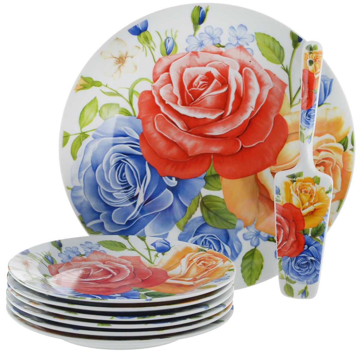 Набор для торта Bella, 8 предметов. DL-S8CB-175103823Набор для торта Bella состоит из 7 тарелок и лопатки. Изделия выполнены из высококачественного фарфора и оформлены ярким рисунком. Набор идеален для подачи тортов, пирогов и другой выпечки.Яркий дизайн сделает набор изысканным украшением праздничного стола.Диаметр меленьких тарелок: 19,3 см.Диаметр большой тарелки: 26,5 см.Размеры лопатки: 23 х 5,3 х 2 см.