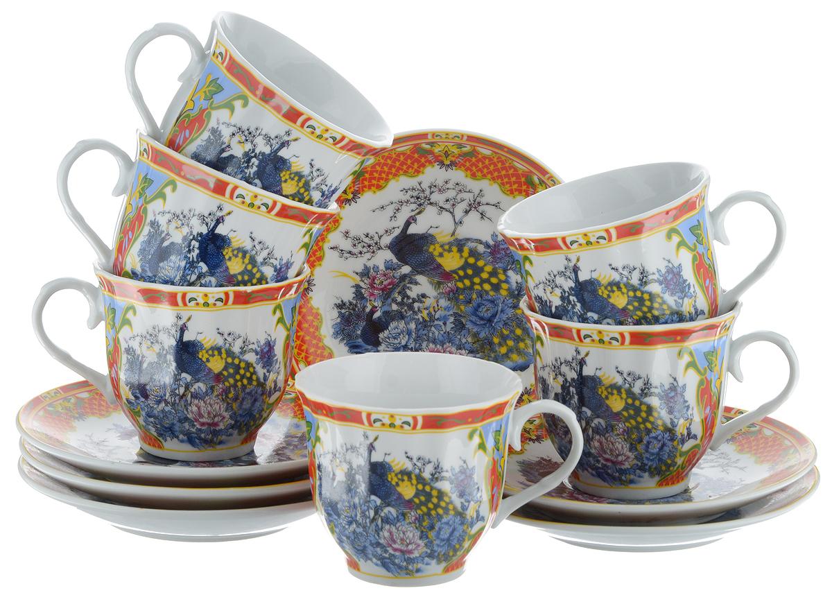 Набор чайный Bella, 12 предметов. DL-RF6-079115510Чайный набор Bella состоит из 6 чашек и 6 блюдец, изготовленных из высококачественного фарфора. Такой набор прекрасно дополнит сервировку стола к чаепитию, а также станет замечательным подарком для ваших друзей и близких. Объем чашки: 220 мл. Диаметр чашки (по верхнему краю): 8 см. Высота чашки: 7 см. Диаметр блюдца: 14 см.Высота блюдца: 2 см.