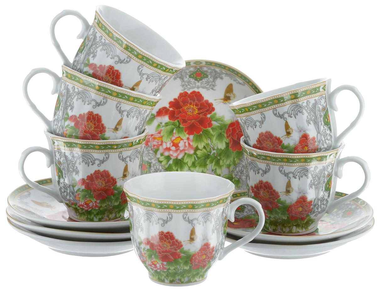 Набор чайный Bella, 12 предметов. DL-RF6-020115510Чайный набор Bella состоит из 6 чашек и 6 блюдец, изготовленных из высококачественного фарфора. Такой набор прекрасно дополнит сервировку стола к чаепитию, а также станет замечательным подарком для ваших друзей и близких. Объем чашки: 220 мл. Диаметр чашки (по верхнему краю): 8 см. Высота чашки: 7 см. Диаметр блюдца: 14 см.Высота блюдца: 2 см.