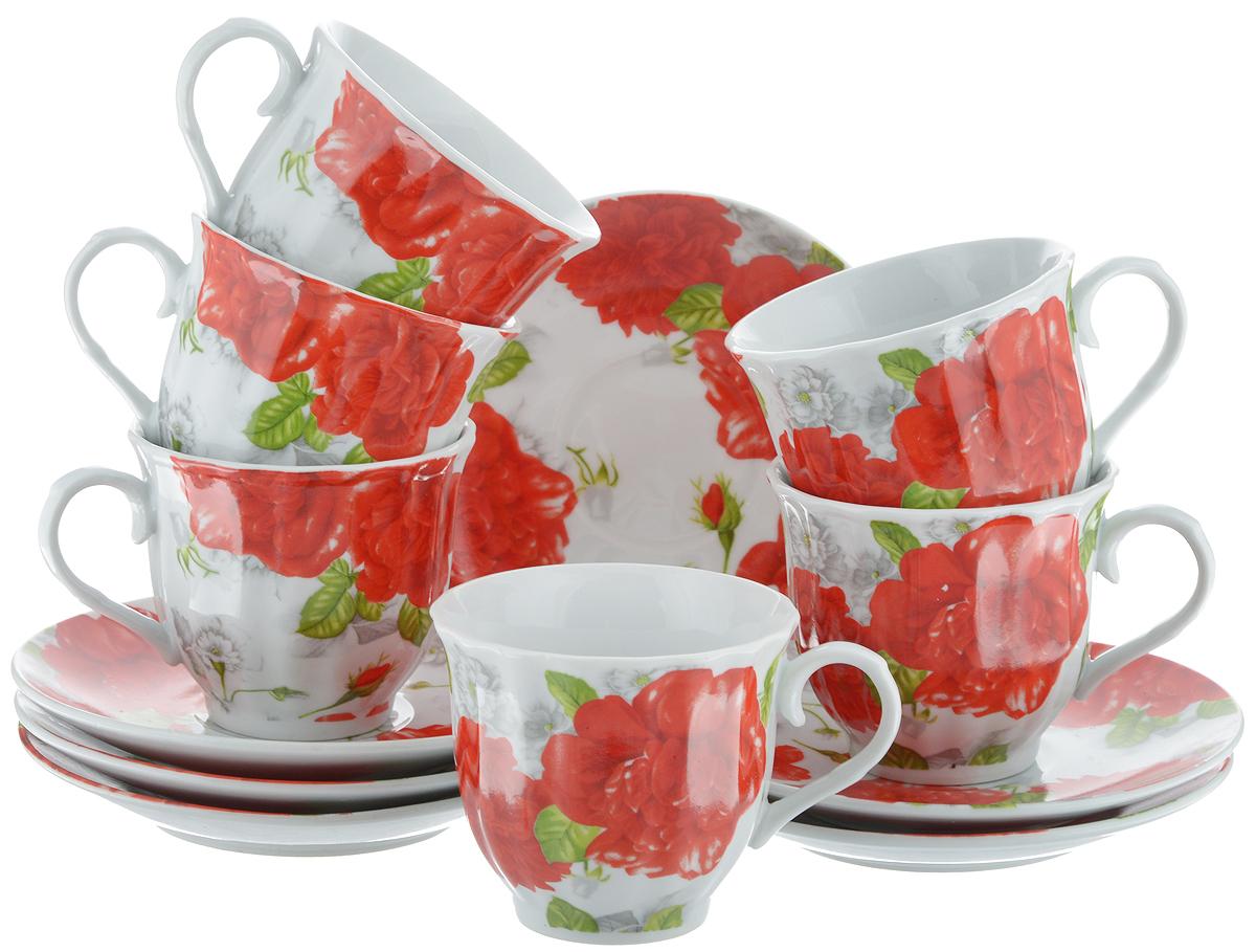 Набор чайный Bella, 12 предметов. DL-RF6-073VT-1520(SR)Чайный набор Bella состоит из 6 чашек и 6 блюдец, изготовленных из высококачественного фарфора. Такой набор прекрасно дополнит сервировку стола к чаепитию, а также станет замечательным подарком для ваших друзей и близких. Объем чашки: 220 мл. Диаметр чашки (по верхнему краю): 8 см. Высота чашки: 7 см. Диаметр блюдца: 14 см.Высота блюдца: 2 см.