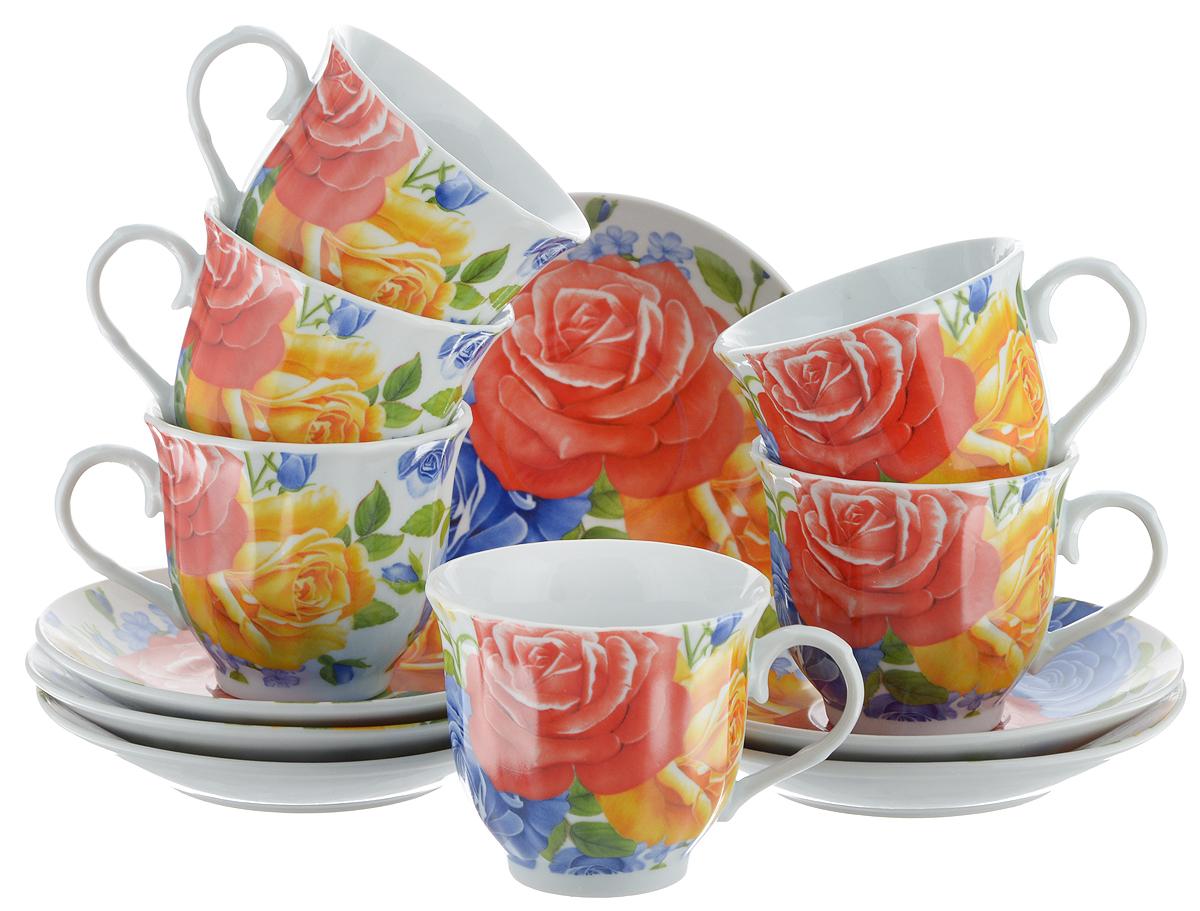 Набор чайный Bella, 12 предметов. DL-RF6-175115510Чайный набор Bella состоит из 6 чашек и 6 блюдец, изготовленных из высококачественного фарфора. Такой набор прекрасно дополнит сервировку стола к чаепитию, а также станет замечательным подарком для ваших друзей и близких. Объем чашки: 220 мл. Диаметр чашки (по верхнему краю): 8 см. Высота чашки: 7 см. Диаметр блюдца: 14 см.Высота блюдца: 2 см.
