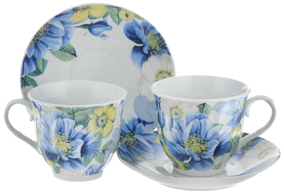 Набор чайный Bella, 4 предмета. DL-F2GB-182115510Чайный набор Bella состоит из 2 чашек и 2 блюдец, изготовленных из высококачественного фарфора. Такой набор прекрасно дополнит сервировку стола к чаепитию, а также станет замечательным подарком для ваших друзей и близких. Объем чашки: 220 мл. Диаметр чашки (по верхнему краю): 8 см. Высота чашки: 7 см. Диаметр блюдца: 14 см.Высота блюдца: 2 см.