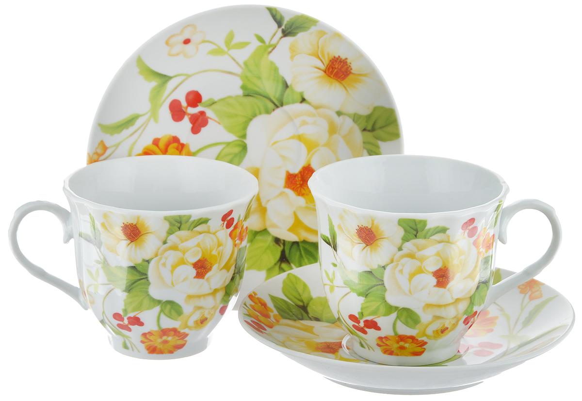 Набор чайный Bella, 4 предмета. DL-F2GB-178730480Чайный набор Bella состоит из 2 чашек и 2 блюдец, изготовленных из высококачественного фарфора. Такой набор прекрасно дополнит сервировку стола к чаепитию, а также станет замечательным подарком для ваших друзей и близких. Объем чашки: 220 мл. Диаметр чашки (по верхнему краю): 8 см. Высота чашки: 7 см. Диаметр блюдца: 14 см.Высота блюдца: 2 см.