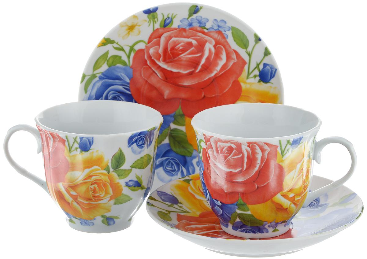 Набор чайный Bella, 4 предмета. DL-F2GB-175115510Чайный набор Bella состоит из 2 чашек и 2 блюдец, изготовленных из высококачественного фарфора. Такой набор прекрасно дополнит сервировку стола к чаепитию, а также станет замечательным подарком для ваших друзей и близких. Объем чашки: 220 мл. Диаметр чашки (по верхнему краю): 8 см. Высота чашки: 7 см. Диаметр блюдца: 14 см.Высота блюдца: 2 см.