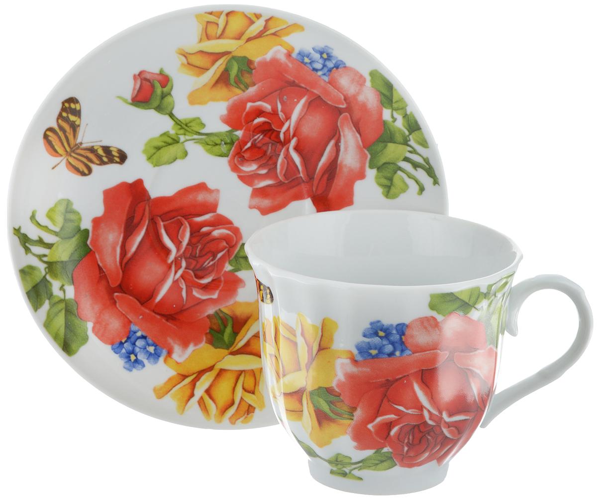 Чайная пара Bella, 2 предмета. DL-F1GB-176115510Чайная пара Bella состоит из чашки и блюдца, изготовленных из высококачественного фарфора. Оригинальный яркий дизайн, несомненно, придется вам по вкусу.Чайная пара Bella украсит ваш кухонный стол, а также станет замечательным подарком к любому празднику.Диаметр чашки (по верхнему краю): 8,5 см.Высота чашки: 7,5 см.Объем чашки: 220 мл.Диаметр блюдца: 14 см.