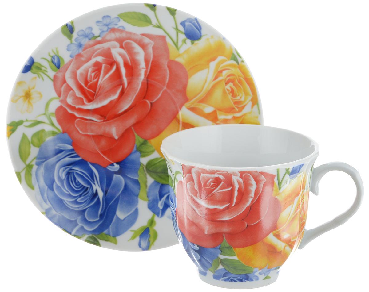 Чайная пара Bella, 2 предмета. DL-F1GB-175FS-91909Чайная пара Bella состоит из чашки и блюдца, изготовленных из высококачественного фарфора. Оригинальный яркий дизайн, несомненно, придется вам по вкусу.Чайная пара Bella украсит ваш кухонный стол, а также станет замечательным подарком к любому празднику.Диаметр чашки (по верхнему краю): 8 см.Высота чашки: 7 см.Объем чашки: 220 мл.Диаметр блюдца: 14 см.