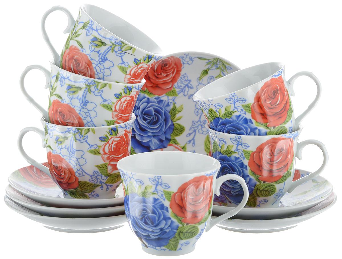 Набор чайный Bella, 12 предметов. DL-RF6-174VT-1520(SR)Чайный набор Bella состоит из 6 чашек и 6 блюдец, изготовленных из высококачественного фарфора. Такой набор прекрасно дополнит сервировку стола к чаепитию, а также станет замечательным подарком для ваших друзей и близких. Объем чашки: 220 мл. Диаметр чашки (по верхнему краю): 8 см. Высота чашки: 7 см. Диаметр блюдца: 14 см.Высота блюдца: 2 см.
