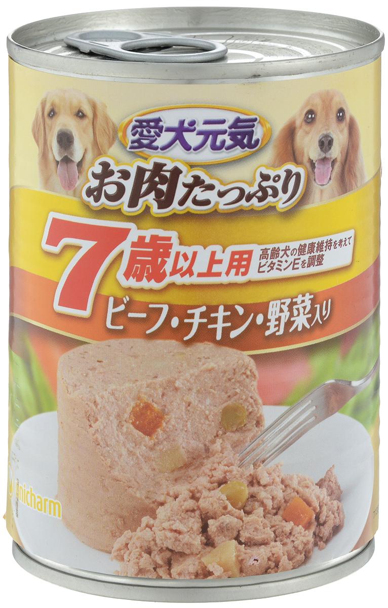 Консервы Unicharm Aiken Genki для собак с 7 лет, с говядиной, курицей и овощами, 375 г0120710Влажный корм для собак Unicharm Aiken Genki - это сбалансированное высококачественное питание для собак старше 7 лет. Аппетитные сочные кусочки говядины в тающем соусе не только вкусны, но и очень полезны. Продукт произведен с сохранением всех свойств натуральной говядины, содержит комплекс питательных веществ и микроэлементов, необходимых для полноценного развития вашего четвероногого друга. Корм полностью удовлетворяет ежедневные энергетические потребности взрослого животного и обеспечивает оптимальное функционирование пищеварительной системы.Состав: курица, говядина, куриный экстракт, пшеничная мука, приправа, глюкоза, ксилоза, витамины и минералы (В1, В2, В6, D, E, кальций, хлор, калий, натрий, фосфор), стабилизатор (гуаровая камедь), консервант (нитрит натрия), красители (диоксид титана, оксид железа).Пищевая ценность (на 100 г): белки - 5%, липиды - 4%, клетчатка - 1,5%, зола - 4%, влажность - 85%, энергетическая ценность 95 ккал.Товар сертифицирован.