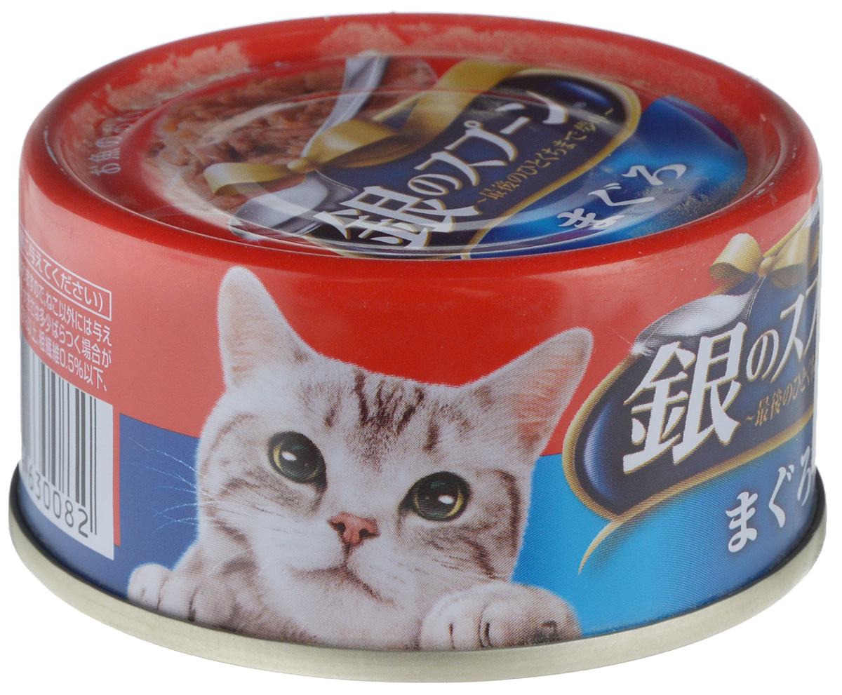 Консервы Unicharm Silver Spoon для кошек, с тунцом, 70 г0120710Консервированный влажный корм Unicharm Silver Spoon - это вкусное и полезное питание для взрослый кошек. Продукт изготовлен только из натуральных ингредиентов высокого качества, содержит комплекс витаминов и минералов, необходимых для поддержания здоровья вашего питомца. Такой корм позволяет домашнему животному долго чувствовать себя сытым и сохранять энергию.Состав: морепродукты (тунец), приправы, полисахарид, загуститель.Пищевая ценность (на 100 г): белки - 10%, липиды - 0,3%, клетчатка 0,5%, зола - 3%, влажность - 88%, энергетическая ценность - 36 ккал.Товар сертифицирован.