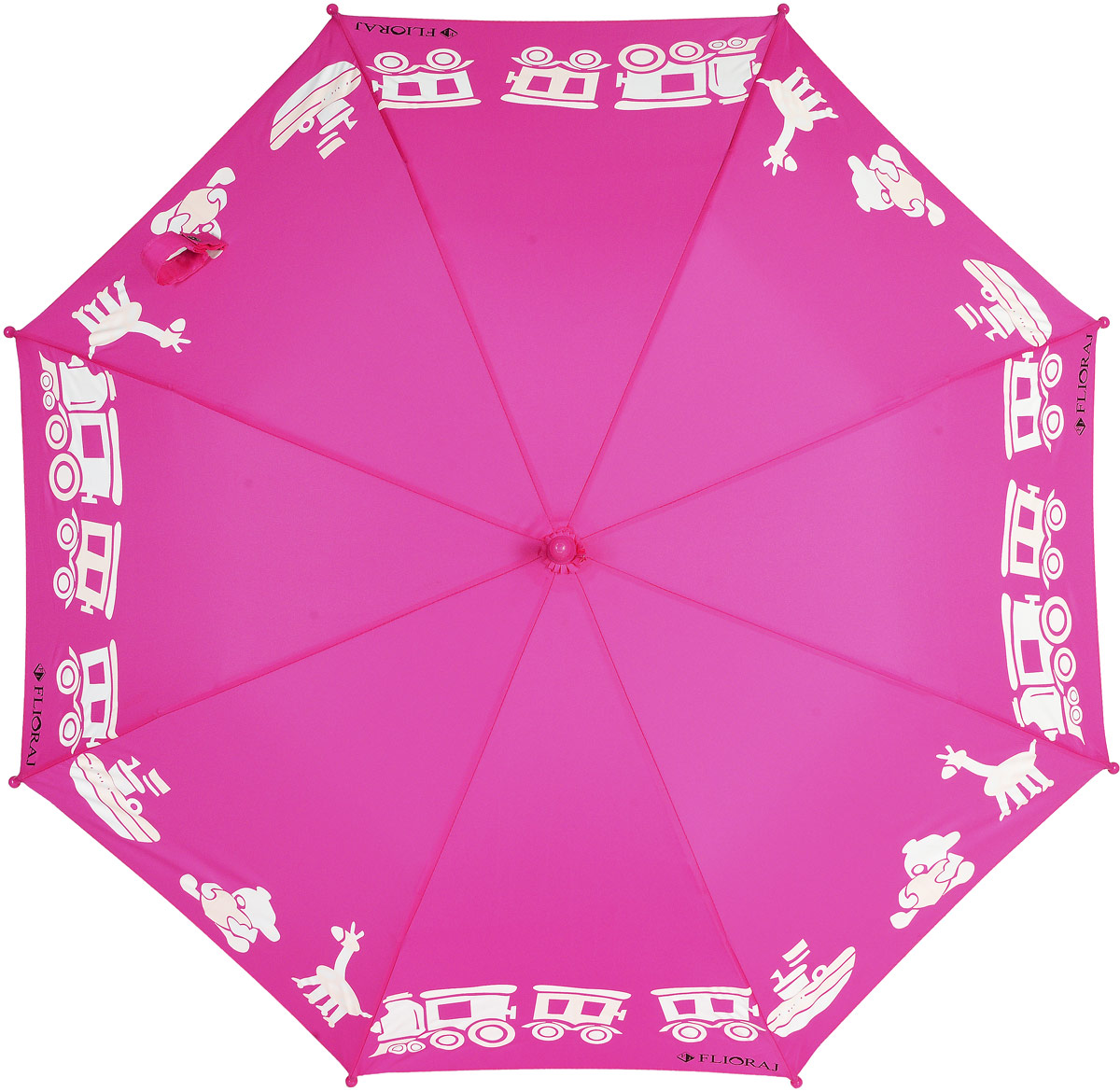 Зонт детский Flioraj, цвет: фуксия. 051210Брошь-кулонОригинальный и яркий детский зонт от Flioraj станет замечательным подарком для вашего ребенка.Изделие имеет механический способ сложения: и купол, и стержень открываются и закрываются вручную до характерного щелчка. Зонт состоит из восьми пластиковых спиц и стержня, изготовленного из металла. Яркий купол выполнен из качественного полиэстера, который не пропускает воду, и оформлен принтом в виде игрушек. Ручка выполнена из пластика и дополнена подвеской-свистком. Оригинальный дизайн зонта поднимет настроение не только вам, но и окружающим.