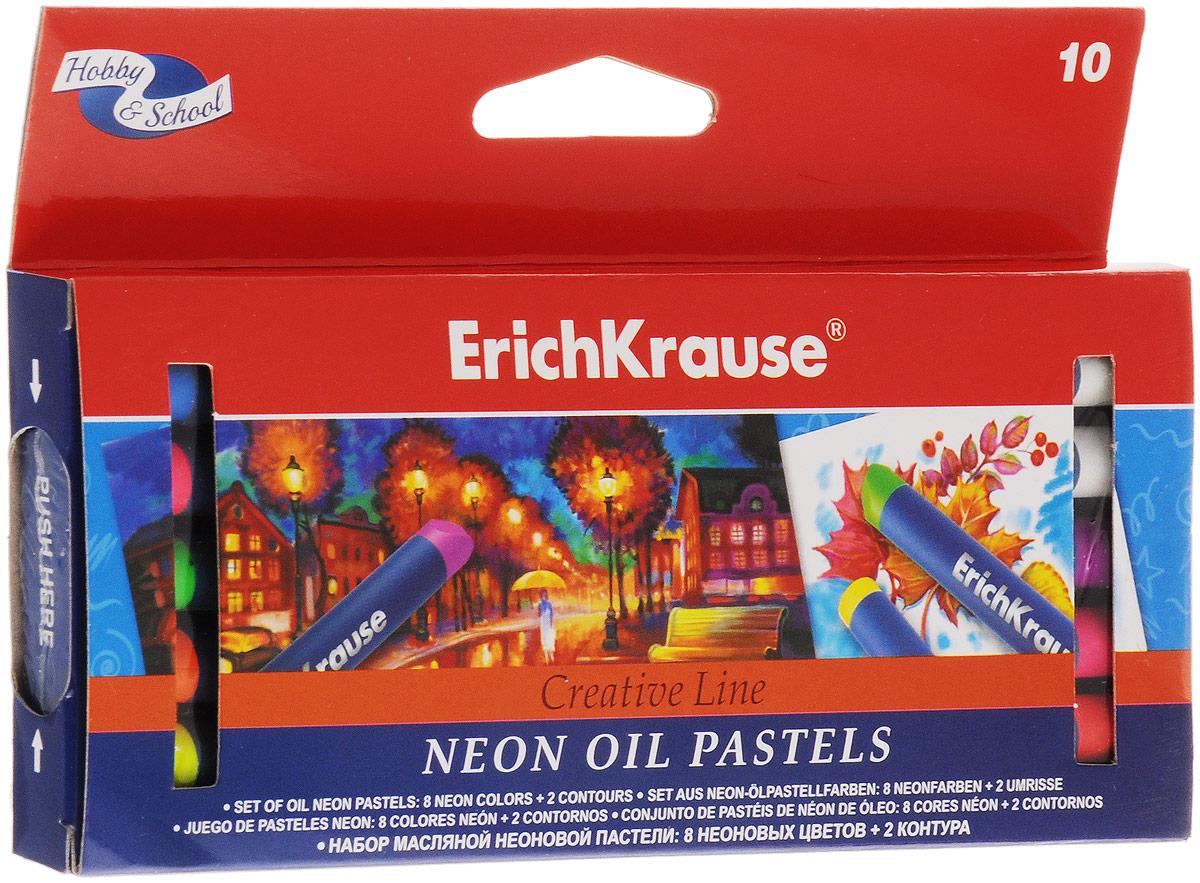 Erich Krause Пастель масляная Creative Neon 10 цветовFS-36052Масляная неоновая пастель Erich Krause Creative Neon подходит для рисования на бумаге, картоне и дереве, позволяет работать на мокрой поверхности. В наборе 8 неоновых цветов и 2 контура. Пастель ярких неоновых цветов имеет бархатистую структуру, водоустойчивая. Мелки подходят для разных техник рисования. Каждый брусок пастели в индивидуальной обертке.