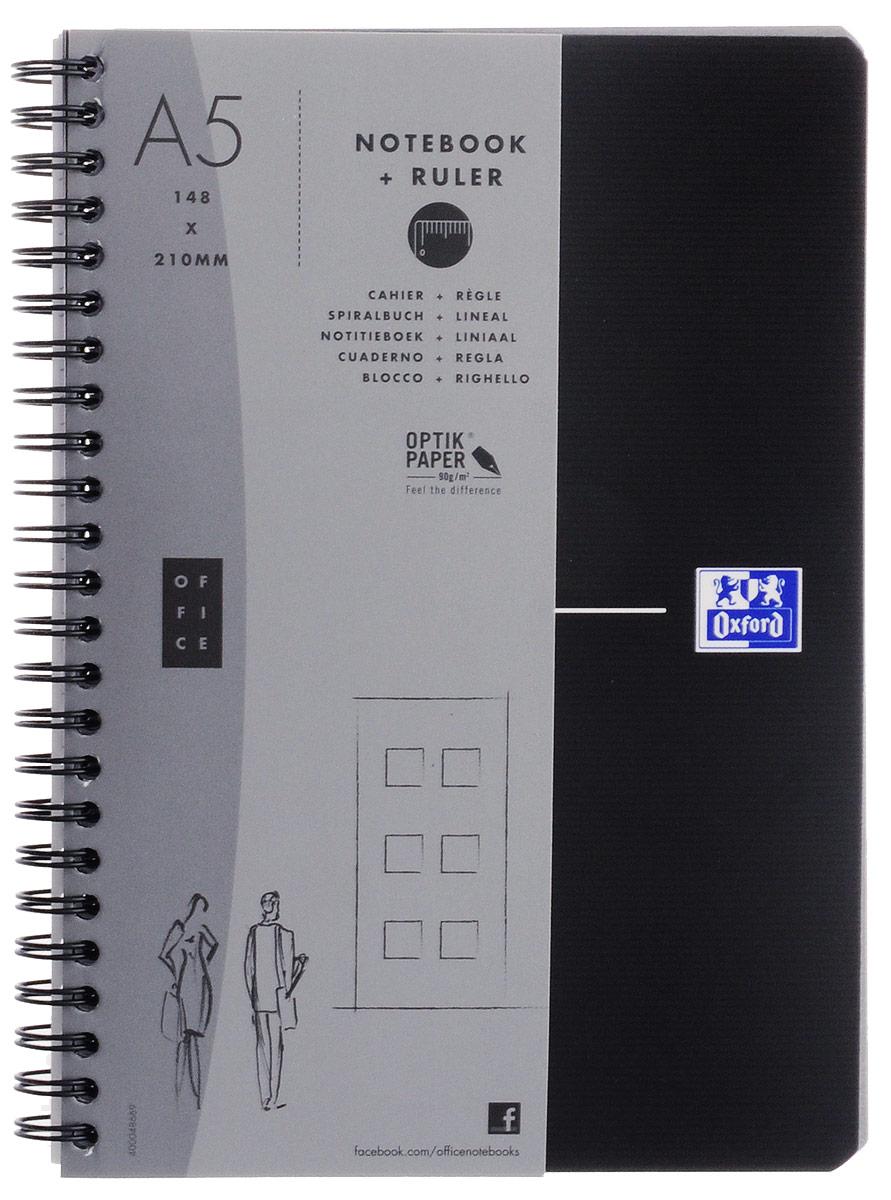 Oxford Тетрадь Essentials 90 листов в клетку цвет черный72523WDКрасивая и практичная тетрадь Oxford Essentials отлично подойдет для школьников, студентов и офисных служащих.Обложка тетради выполнена из плотного, но гибкого ламинированного картона с закругленными краями. Тетрадь формата А5 состоит из 90 белых листов на двойном гребне с линовкой в клетку без полей. Практичное и надежное крепление на гребне позволяет отрывать листы. Тетрадь дополнена съемной закладкой-линейкой из матового полупрозрачного пластика.Высококачественная бумага Optik Paper имеет шелковистую поверхность и высокую белизну, при письме чернила быстро впитываются и не размазываются, надпись не просвечивается с обратной стороны листа.Вне зависимости от профессии и рода деятельности у человека часто возникает потребность сделать какие-либо заметки. Именно поэтому всегда удобно иметь эту тетрадь под рукой, особенно если вы творческая личность и постоянно генерируете новые идеи.