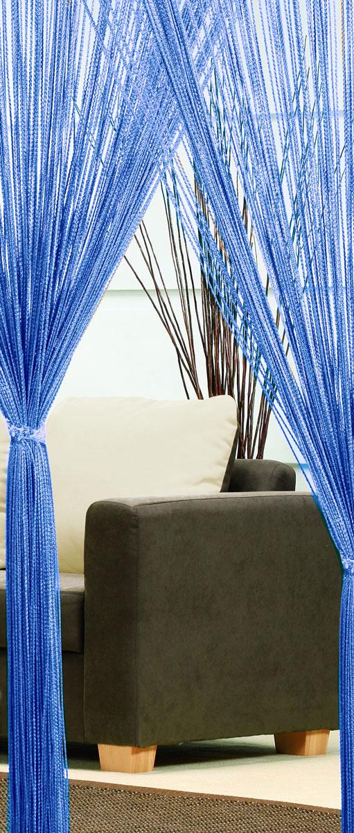 Гардина-лапша Haft, на кулиске, цвет: синий, высота 250 см3115017Легкая гардина-лапша на кулиске Haft, изготовленная из полиэстера, станетвеликолепным украшением любого окна. Оригинальный дизайн и приятнаяцветовая гамма привлекут к себе внимание и органично впишутся в интерьеркомнаты.