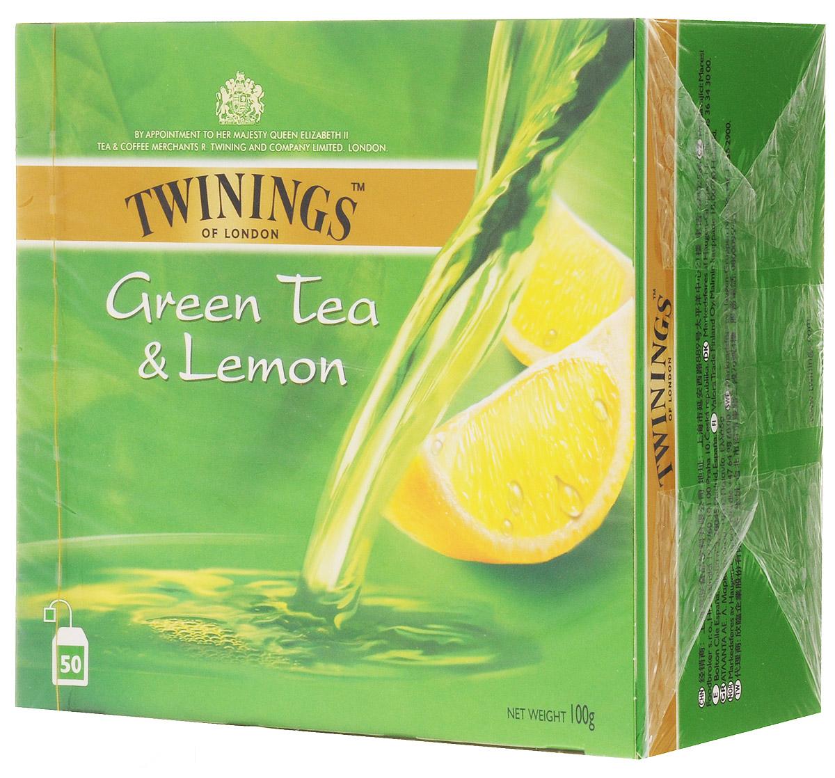 Twinings Green Tea & Lemon чай зеленый в пакетиках, 50 шт0120710Twinings Green Tea & Lemon - это уникальная смесь сортов зеленого чая с добавлением высушенной лимонной цедры. Подарит ощущения бодрости на весь день.