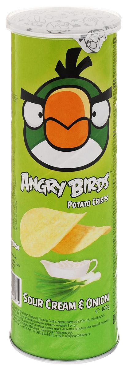 Angry Birds чипсы со вкусом сметаны и лука, 100 г0120710Хрустящая картофельная закуска Angry Birds со вкусом сметаны и лука составит компанию фильму или пиву! Возьмите с собой — на пикник, в дорогу или в кинотеатр! Благодаря удобной тубе они не сломаются и не рассыплются. Рекомендуется подавать с кисло-сладкими и сливочными соусами.