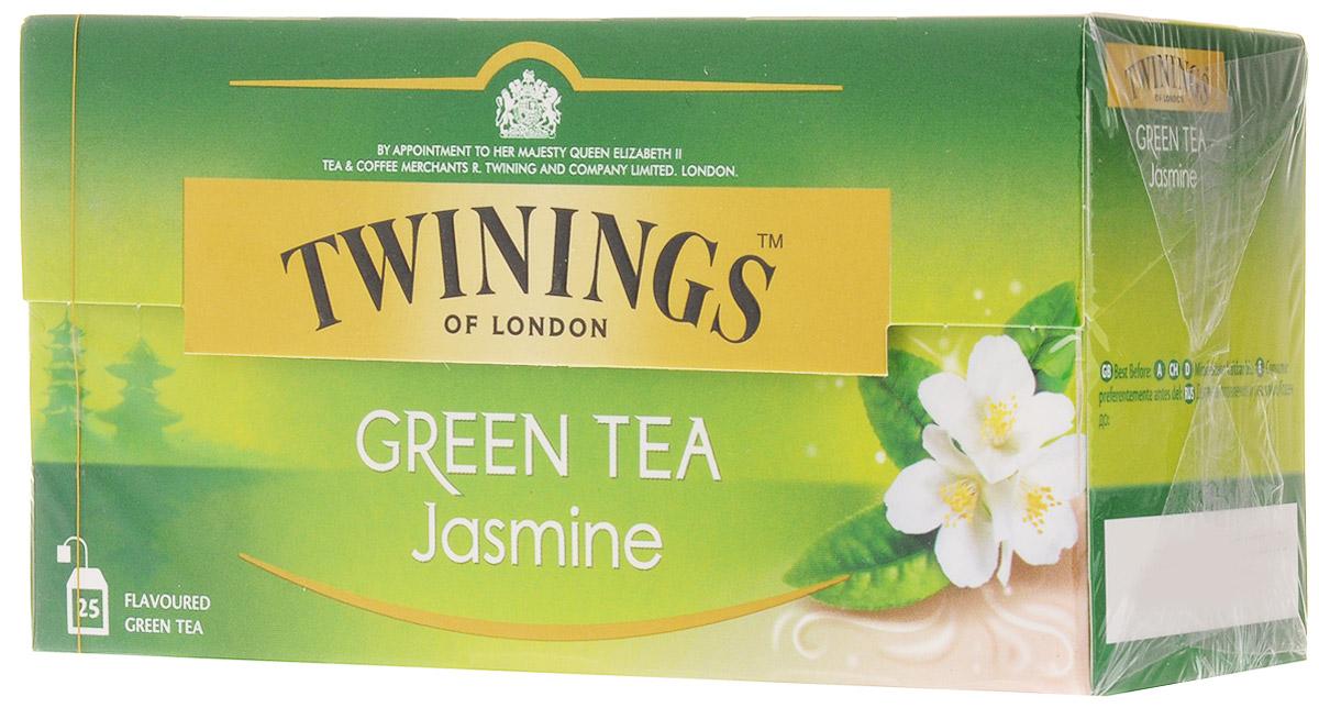 Twinings Jasmine чай зеленый в пакетиках, 25 шт0120710Twinings Jasmine - это зеленый чай с добавлением жасмина. Напиток прозрачного цвета с экзотическим утонченным ароматом.