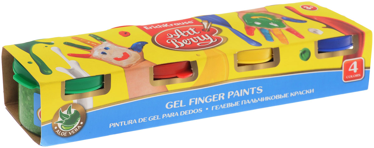 Erich Krause Краска пальчиковая ArtBerry 4 цвета 41751FS-00103Пальчиковая краска Erich Krause ArtBerry - это первая в мире пальчиковая краска с Алоэ вера. Краска нежно заботится о коже ребенка в процессе рисования. Основа красок - безопасные пищевые красители, которые изготавливаются из экологически чистых материалов. Пальчиковыми красками можно рисовать на бумаге и картоне, пальцами и ладошками, а также специальной кисточкой и спонжиками. В процессе рисования пальчиковыми красками ребенок научится различать и смешивать цвета, разовьет мелкую моторику и чувство осязания. Ребенок может рисовать мазки разной яркости, в зависимости от силы нажатия пальцев. Плотная гелевая структура краски не позволяет ей растекаться, если баночка случайно упадет. На листе, после высыхания, цвета рисунка останутся сочными и яркими, картинка приобретет глянцевый блеск. Рисование пальчиковыми красками способствует раннему развитию творческих способностей.