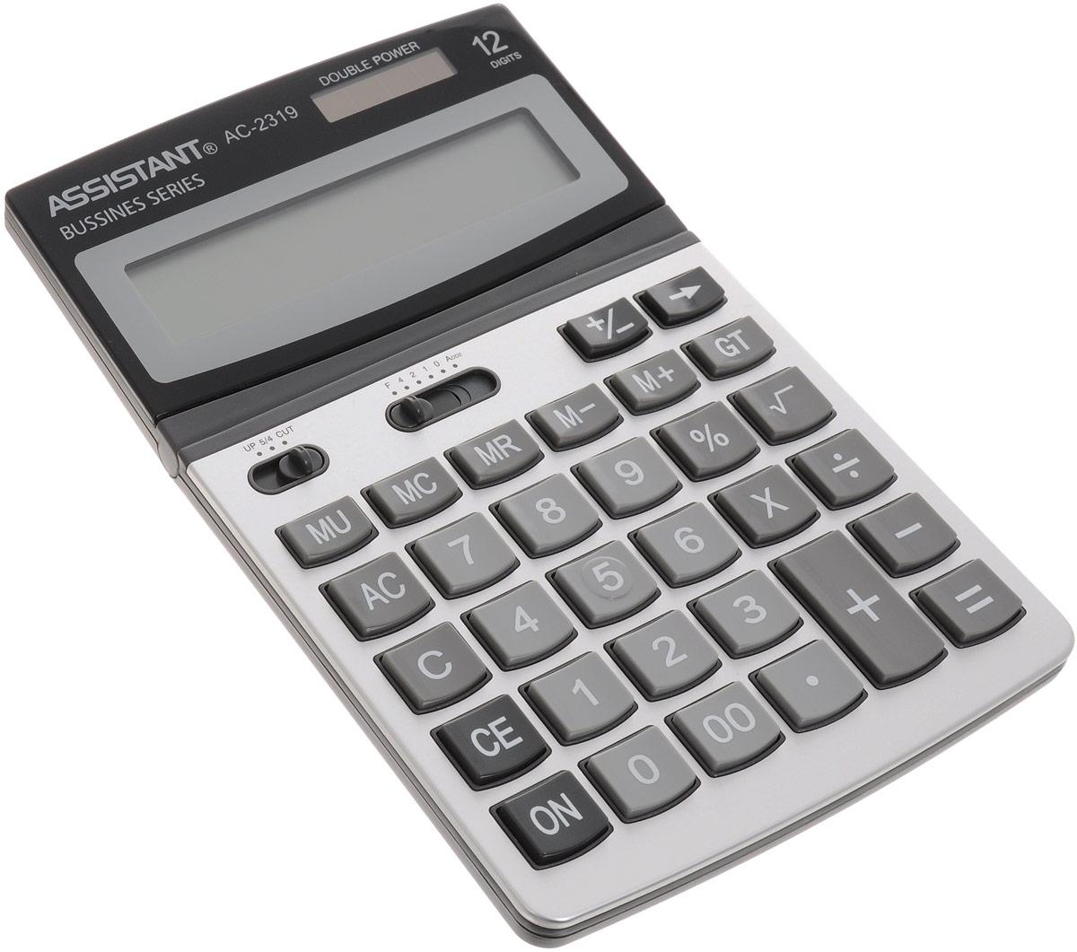 Калькулятор Assistant AC-2319, 12-разрядныйFS-00103Классический настольный калькулятор с большим 12-разрядным дисплеем и чувствительной клавиатурой с большими пластиковыми кнопками. Калькулятор имеет двойную систему питания: от солнечного элемента и от батареи, - что гарантирует ему бесперебойную работу на несколько лет. Привлекательный стильный дизайн сделает калькулятор отличным дополнением вашего рабочего места.12-ти разрядный дисплей Вычисление процентов Итоговая сумма Операции с наценками и скидкамиДвойное питаниеПластиковые кнопкиМеталлическая лицевая панельРегулируемый дисплейУдаление последнего введенного символа Характеристики: Размер калькулятора: 20 х 13 х 2,8 см. Размер дисплея: 10,3 см х 2,3 см. Цвет: черный, серый. Изготовитель: Китай.
