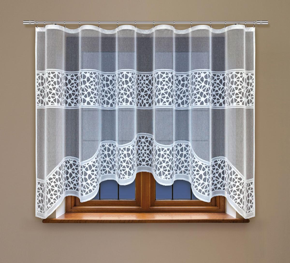 Гардина Haft, на ленте, цвет: белый, высота 160 см. 222360K100Гардина Haft, изготовленная из полиэстера, станет великолепным украшением любого окна. Тонкое плетение и оригинальный дизайн привлекут к себе внимание. Изделие органично впишется в интерьер. Гардина крепится на карниз при помощи ленты, которая поможет красиво и равномерно задрапировать верх.