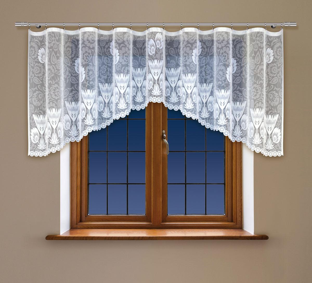 Гардина Haft, на ленте, цвет: белый, высота 140 см. 222350K100Гардина Haft, изготовленная из полиэстера, станет великолепным украшением любого окна. Тонкое плетение и оригинальный дизайн привлекут к себе внимание. Изделие органично впишется в интерьер. Гардина крепится на карниз при помощи ленты, которая поможет красиво и равномерно задрапировать верх.