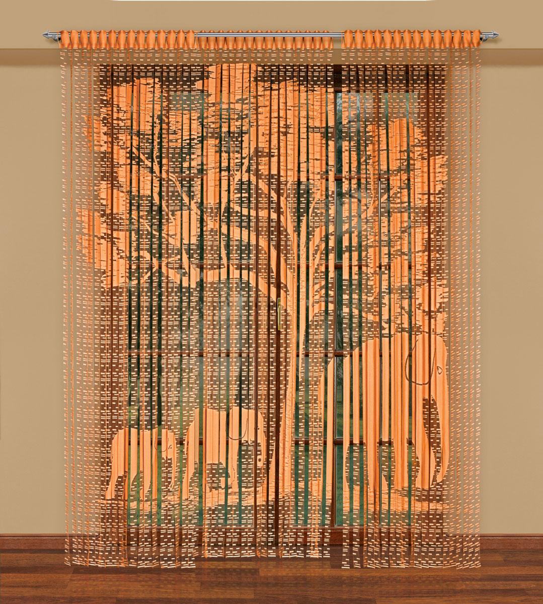 Гардина-лапша Haft, на петлях, цвет: оранжевый, высота 270 см. 212180SVC-300Легкая гардина-лапша на петлях Haft, изготовленная из полиэстера, станетвеликолепным украшением любого окна. Оригинальный дизайн и приятнаяцветовая гамма привлекут к себе внимание и органично впишутся в интерьеркомнаты.