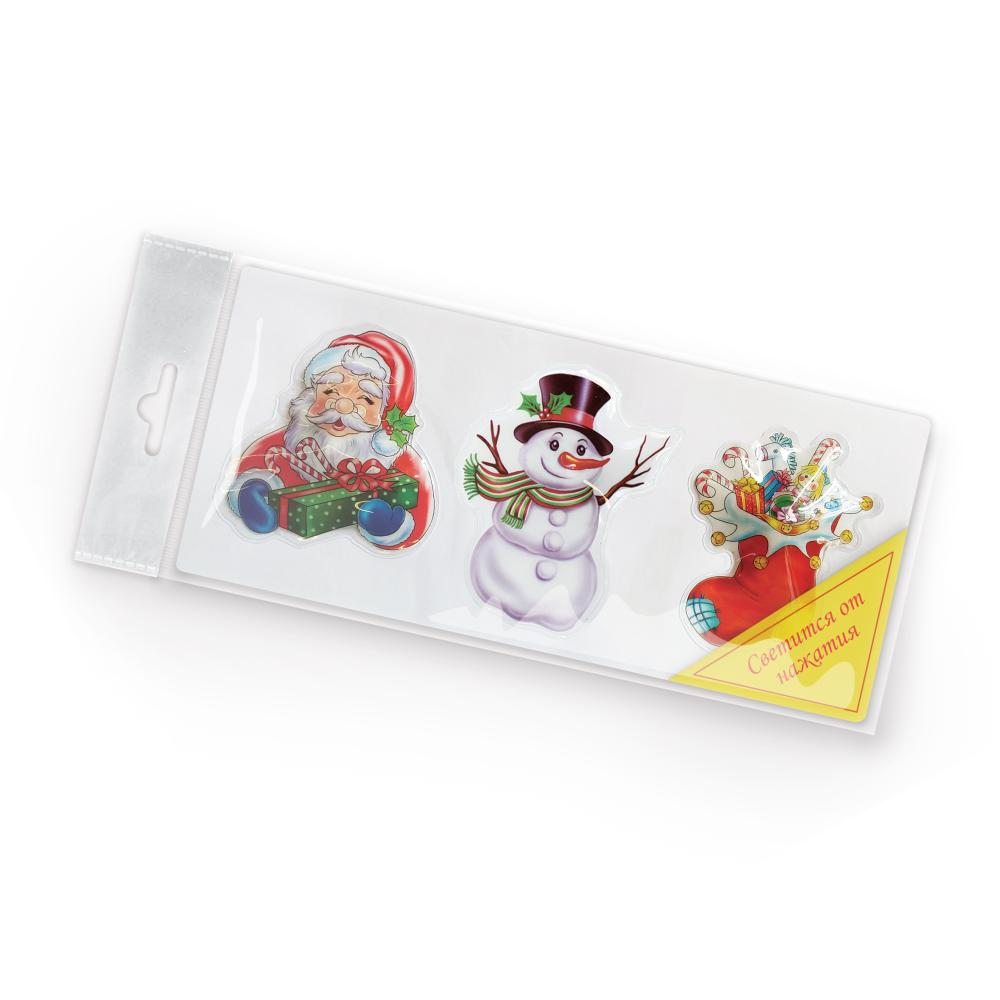 Наклейки B&H Дед Мороз, светящиеся, 3 штK100Наклейка светящаяся - оригинальный аксессуар, который позволит украсить домашний интерьер необычным способом одним движением руки. В комплекте находится 3 тематических наклейки, изображения которых создадут волшебную атмосферу наступающего праздника. Удобная присоска позволит прикрепить наклейки на кухонное окно или же дверцу шкафа, а для свершения небольшого волшебства достаточно нажать на выпуклую часть изделия, которое тотчас начнет светиться в течение 30 секунд, очаровывая всех своей феерией цвета.Для работы световых эффектов используются батарейки AG10 (установлены и замене не подлежат).