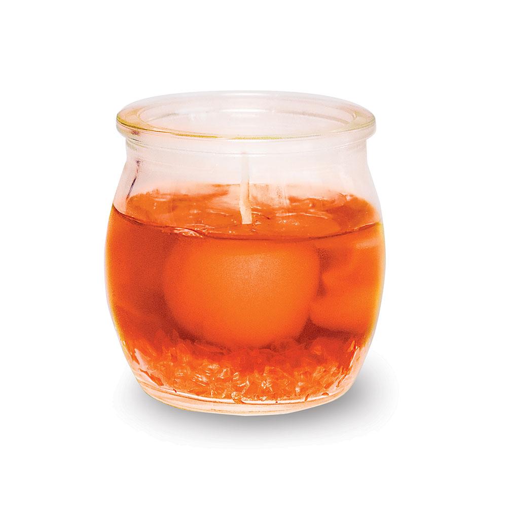 Свеча ароматизированная B&H Дольки мандарина, цвет: оранжевый, высота 5 см74-0120Свеча гелевая с долькой мандарина ароматизированная в виде банки с крышечкой.Свеча с приятным ароматом будет вас радовать в новогоднюю ночь и достойно украсит интерьер. Вы можете поставить свечу в любом месте, где она будет удачно смотреться и радовать глаз. Кроме того, эта свеча - отличный вариант подарка для ваших близких и друзей.Высота: 5 см.