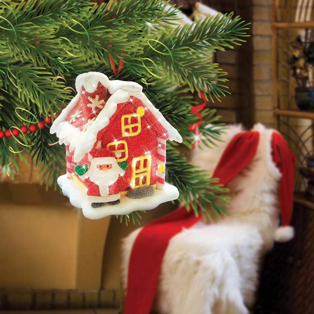 B&H Сувенир Сахарный домик с RGB светодиодом, цвет: красныйMB860Домик пряничный с сахарной посыпкой из полимерных материалов с LED. Высота 7 см.