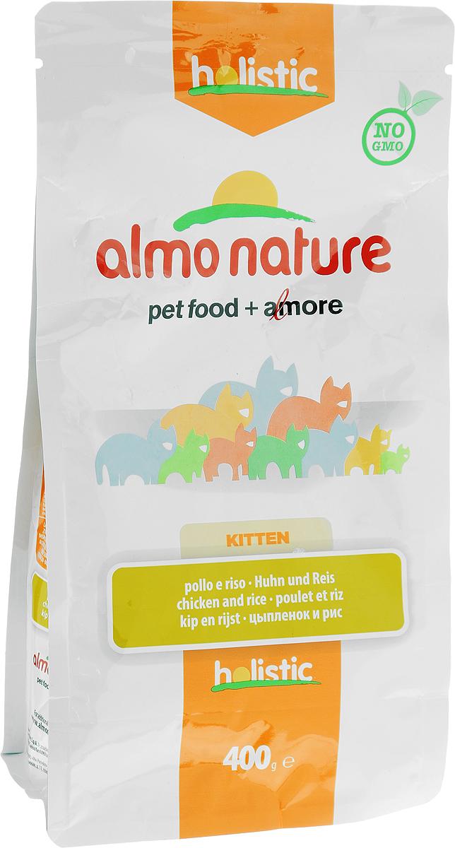 Корм сухой Almo Nature для котят, с цыпленком и рисом, 400 г0120710Полноценный корм Almo Nature предназначен для котят, а также беременных и кормящих кошек. Высокое содержание свежего цыпленка делает корм более привлекательным для кошек и повышает усвояемость. Отъем котят от материнского молока можно начинать в возрасте 3-4 недель с его заменой сухим и влажным кормом. Диета для котят может использоваться до возраста в 10-12 месяцев.Товар сертифицирован.