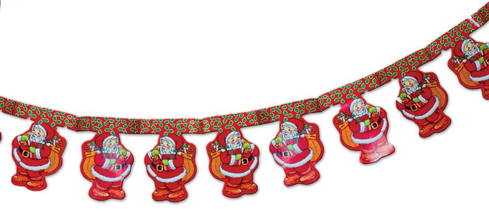 Гирлянда бумажная B&H Санта, длина 3 м264012Гирлянда бумажная Санта - великолепный и стильный вариант для украшения домашнего интерьера. Несколькими простыми движениями руки ваш шкаф, антресоль или просто стенка смогут существенно преобразиться благодаря бумажной гирлянде из стилизованных элементов. Повесить ее не составит труда при помощи прочной нити, а благодаря специальной конструкции ее можно будет с легкостью сложить обратно до следующего Нового года.