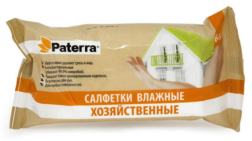Салфетки хозяйственные Paterra, влажные, 64 шт104-011Влажные хозяйственные салфетки Paterra удаляют любые загрязнения. Придают блеск хромированным изделиям. Безопасна для кожи рук.